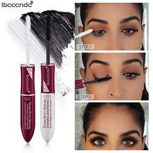 Brand 2 IN 1 Black 4D Silk Fiber Lash Mascara Base Waterproof Volume Double Lengthening Curling Eye