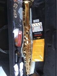 Gold Sopran Saxophon Hohe G schlüssel mit metall mundstück und metall kappe Schnelle versand