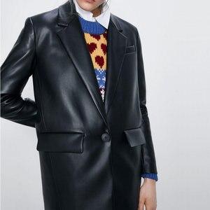 2020 nouvelle mode femmes noir col en v Faux cuir Blazer vestes bureau dame petit ami surdimensionné à manches longues poche manteau ample