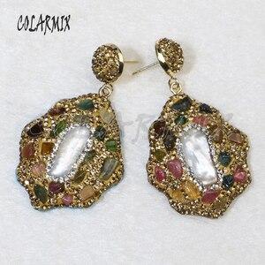 Image 1 - 5 pairs mix pedra brincos de cristal dourado balançar brincos brincos de gota natural arco íris cristal acessórios para mulher 8035