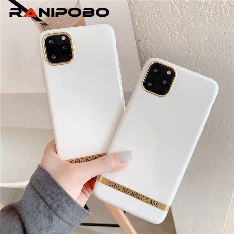 Artistic Agate Marble Phone Case For iphone 11 XS XR XS Max 6 6S 7 8 Plus Glossy soft silicon case Gold bar Back cover capa Gift