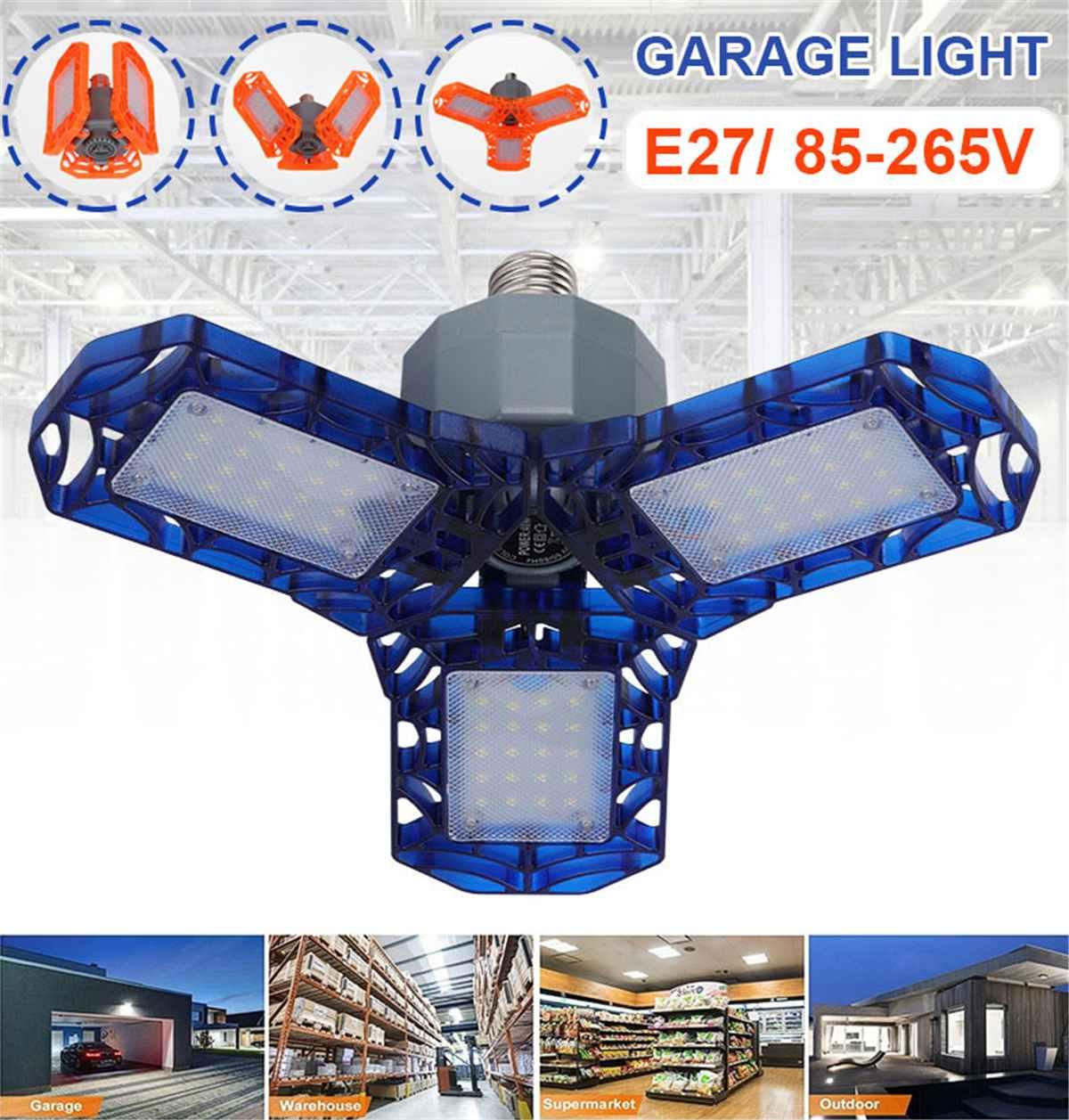 LED Garage Light 360 Degrees Deformable Ceiling Light For Home Warehouse Workshop AC85-265V Folding Three-Leaf Deformation Lamp