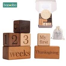 Bopoobo – ensemble de 3 ou 6 pièces, boîte en bois, arrière-plan multicolore pour photographie de bébé, accessoires commémoratifs pour la croissance des enfants