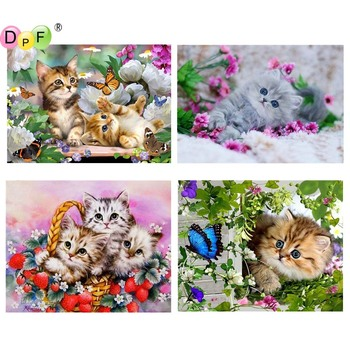 5D DIY Diamond Painting cat round/square Cross Stitch Diamond Embroidery kits Diamond Mosaic home Decorative drill image