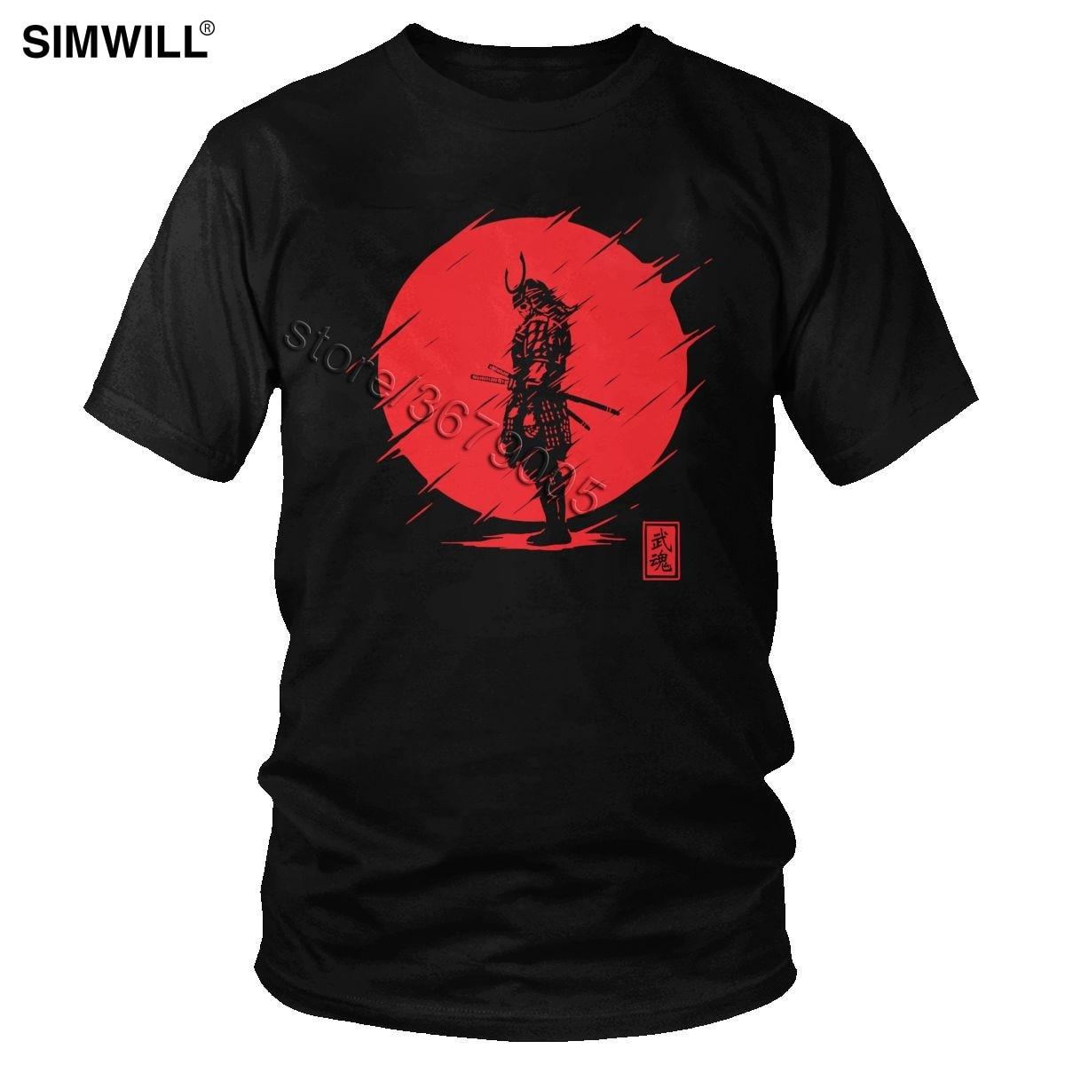 Cool Samurai Spirit T Shirt Men Brand Short Sleeve Cotton Tee Top Red Sun Japanese Armor Warrior T-shirt Oversize Classic Tshirt(China)