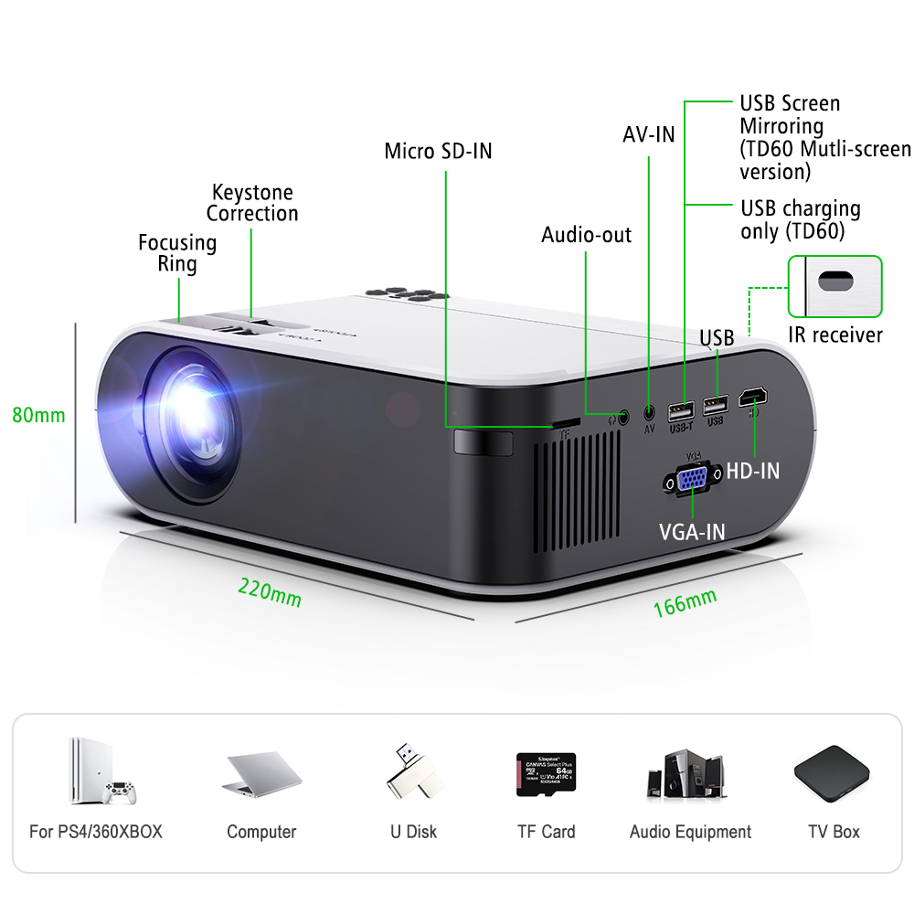 ThundeaL Mini Projector TD60 Support Full HD 1080P Video LED WiFi Android Beamer Link Phone 3D Home Theater Portable Projector-5