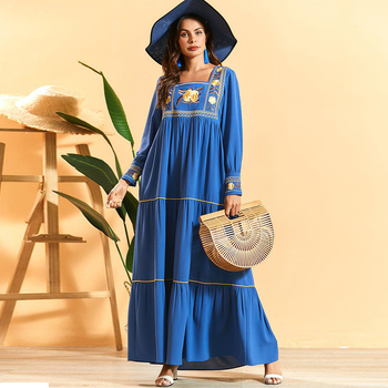 Siskakia Bohemia A Line Long Dress Fashion Pleated Geometric Flower Embroidery Maxi Dress Plus Size Long Sleeve Square Collar цена 2017