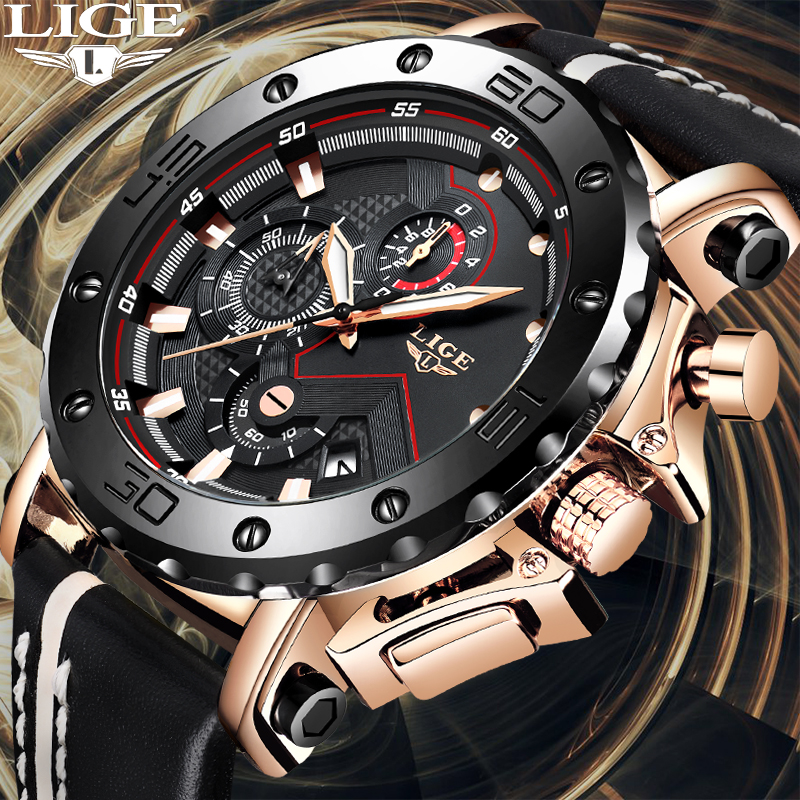 2010 New LIGE Sport Chronograph Mens Watches Top Brand Casual Leather Waterproof Date Quartz Watch Man Clock Relogio Masculino