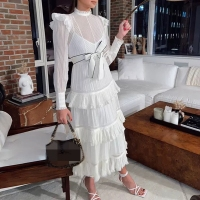 summer white long dress 2020 woman runway long sleeve party dresses
