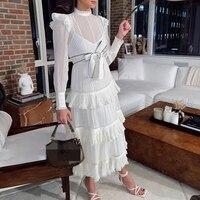 summer white long dress 2020 woman runway long sleeve party dresses