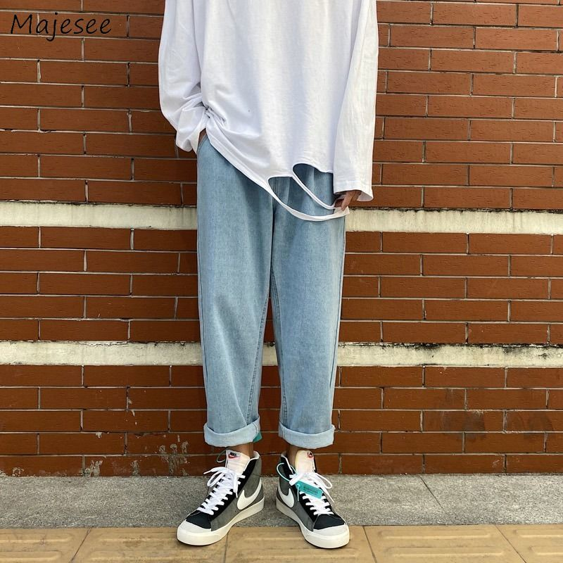 Männer Jeans Ankle-länge Elastische-taille Solide Einfache Kordelzug Oversize 3XL Denim Hose Männlichen Lose Freizeit Alle-spiel Streetwear