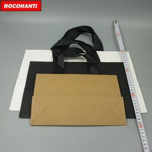 Image 5 - 100X מותאם אישית לוגו מודפס יוקרה בוטיק קניות נייר שקית מתנה עם סרט ידיות שחור חום לבן צבע