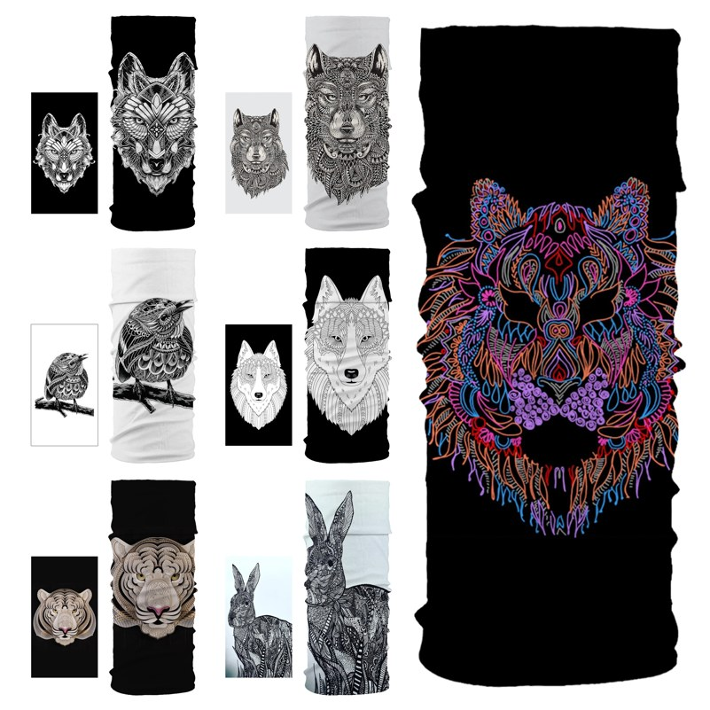Lovely Rabbit Tiger Wolf Animal Seamless Balaclava Magic Scarf Headwear Outdoor Sports Bandanas Cycling Hiking Mask Neck Gaiter