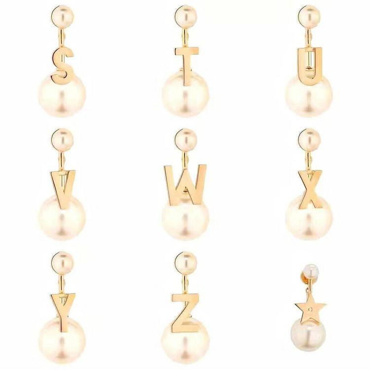 Fashion Ball Dainty Initial 26 Letter Alphabet Name Charm Gold Color Simulation Pearl Dangle Earrings For Women Jewelry 1pc