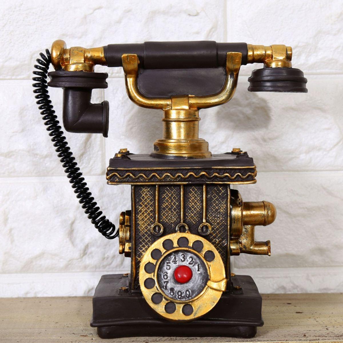 3 Colors Antique Retro Phone Piggy Bank Booth Call Telephone Model Figurine Home Decor