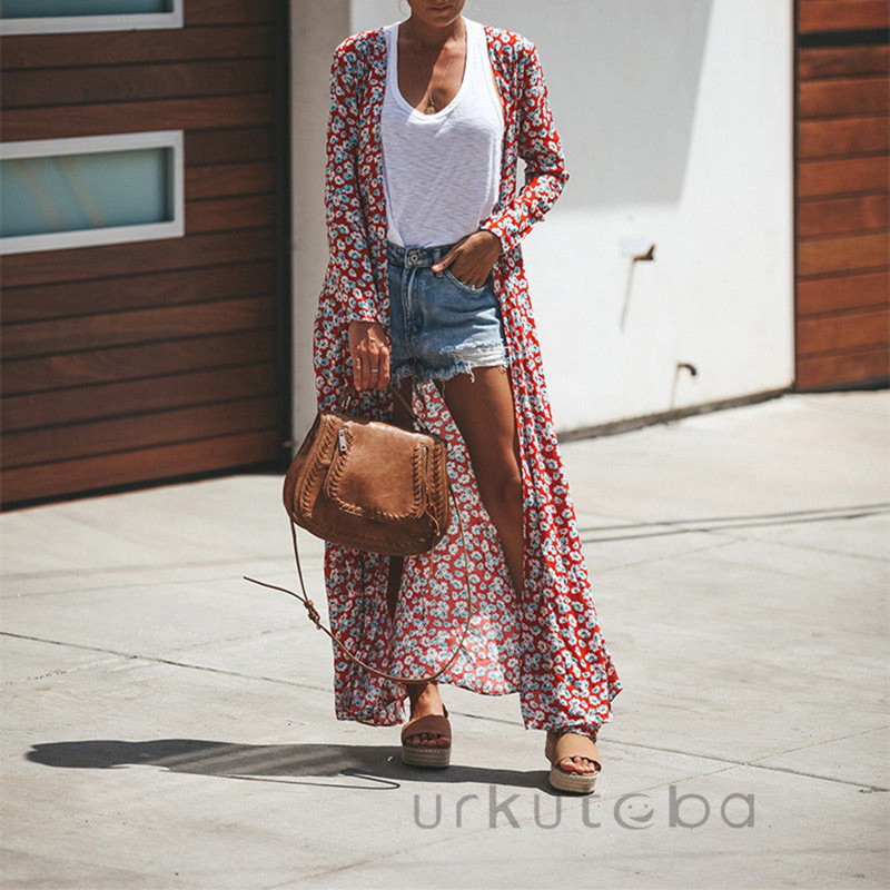 Women Casual Beachwear Open Front Polka Dots Kimono Dress