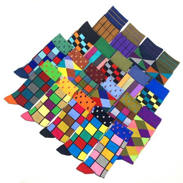 Colorful Autumn And Winter cotton socks geometric lattice classic business casual happy socks men 1