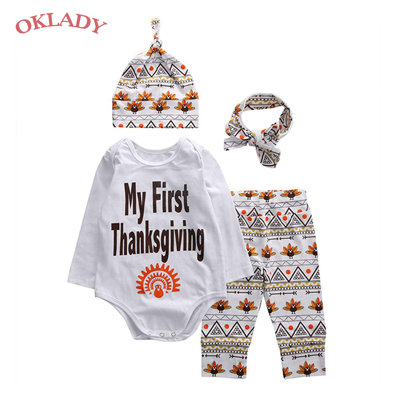 OKLADY My First Thanksgiving Baby Girl Clothes Set Outfit Cute Letter Romper + Pants + Hat + Headband Infant Boy Clothes Set 12T