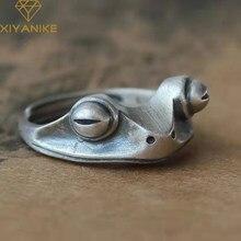 XIYANIKE nuovo anello rana retrò in argento Sterling 925 carino aperto neutro regolabile colore bronzo decorazione gioielli fatti a mano classico