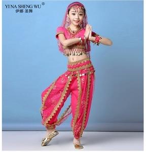 Image 2 - Ensemble Costumes de danse du ventre pour enfants, ensemble de Costumes de danse du ventre Oriental, vêtements indiens, 4 couleurs