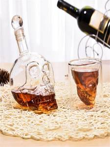Cup-Set Glasses-Cups Shot Skull Bottle Crystal Wine 700ml Transparent Double 75ml-Head