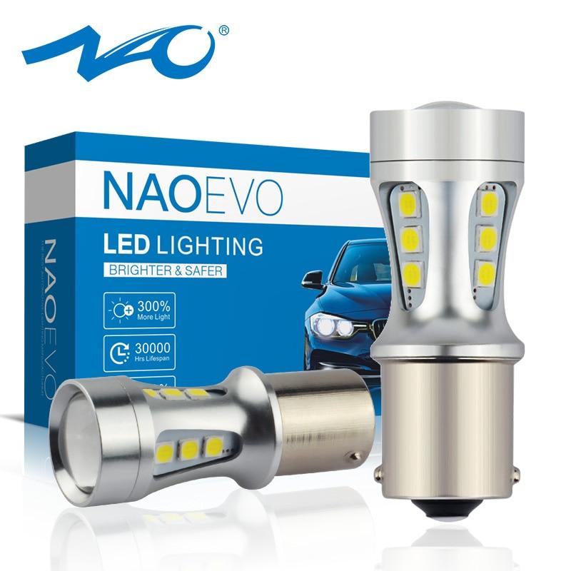 NAO P21W Led BAY15D PY21W BA15S White 1300Lm Car LED Bulb P21/5W Turn Signal 1156 3030 6000K Yellow Brake Light Reverse Lamp DRL