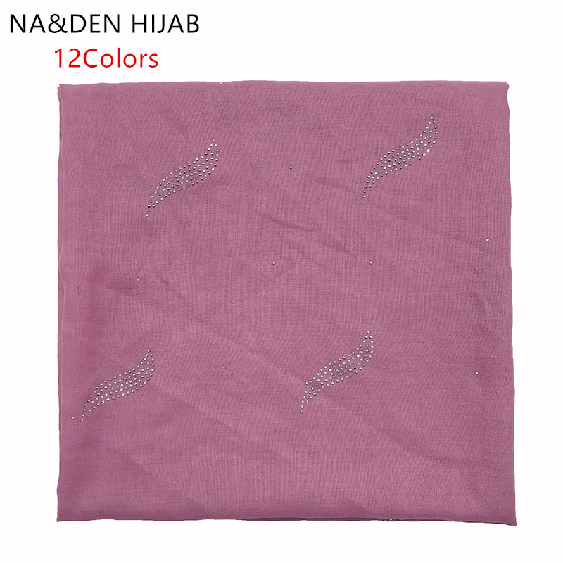 1PC  Muslim Headscarf New Bandana Solid Scarf Hot Rhinestone Shawls Square Pashmina Women Popular Muffler Islamic Hijab