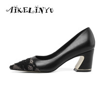 AIKELINYU Spring Classics Women's Pumps Square Heel Cow Leather Shoes Career Pointed Toe Slip-On Shoes Elegant Office Lady Shoes krazing pot full grain leather slip on women pumps basic design mixed color style pointed toe office lady career wear shoes l77