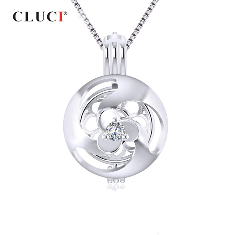 CLUCI Silver 925 Zicron Cage Pendant For Women Shamrock Flower Shaped Silver 925 Sterling Pearl Locket Pendants