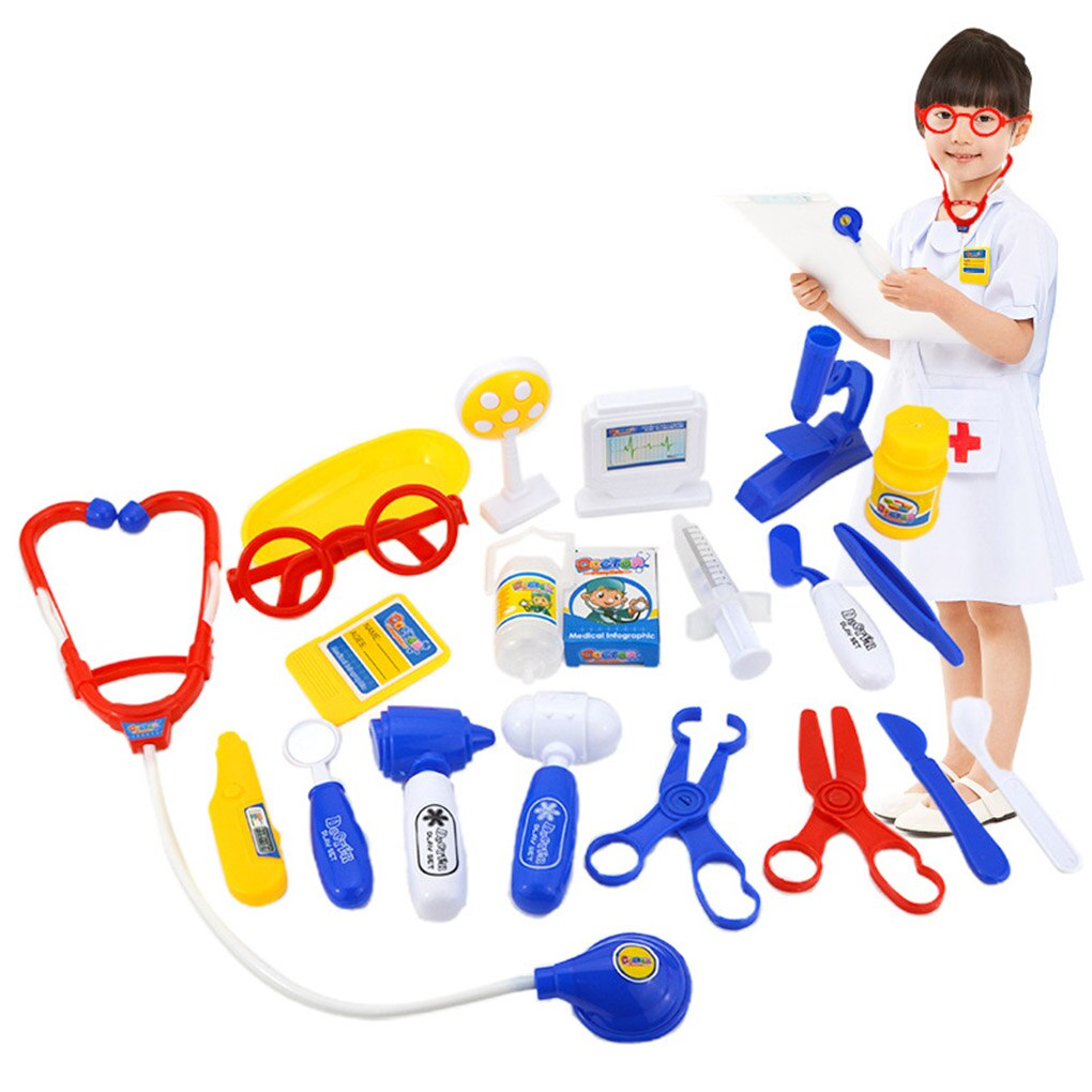 21PCS/Set Plastic Doctor Equiment Tools Toy Children Playing Early Educational Toys Baby Girls Boys Gifts image