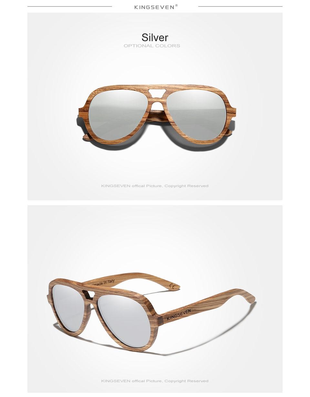 KINGSEVEN New Natural Wood Sunglassess Full Frame 100% Handmade Polarized Mirror Coating Lenses Eyewear Accessories