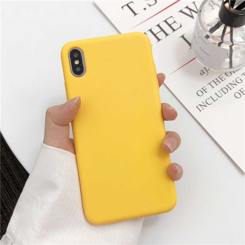 Leuke Matte Solid Candy Telefoon Case Voor Iphone 11 Case 11 Pro Max Xs Max Xr Eenvoudige Siliconen Case Voor iphone 7 6 S 8 Plus Soft Cover
