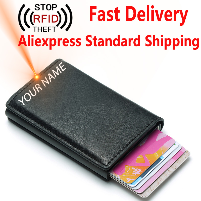 RFID Blocking Credit Card Holder Bank Men Wallets Mini Automatic ID Card Holder PU Leather Money Bag Male Short Purse Business title=