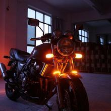1 pcs Motorcycle turn signal Bright Amber LED Fork Strips Turn Signal Lights For Universal led warning light Dropship