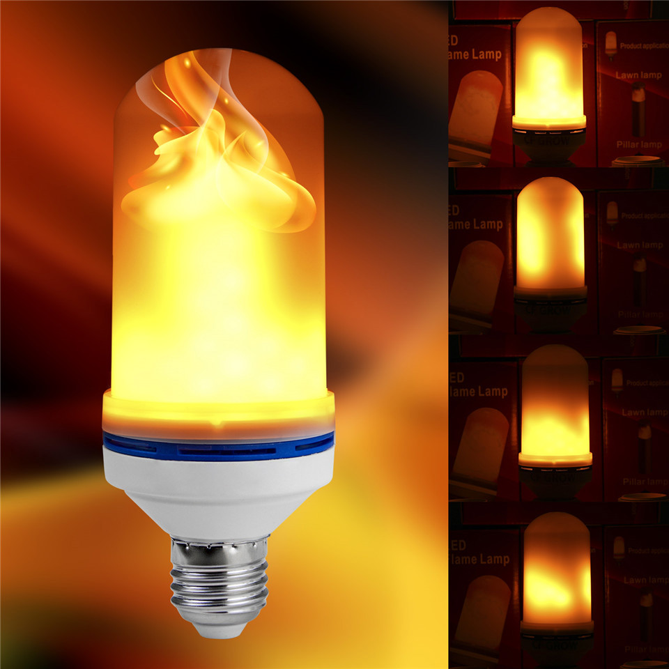LED Flame Fire Light Bulb AC Flickering Decorative Flame Atmosphere Mood Wall Lamp Artificial Vivid Fire Party Bar E26 E27 9W
