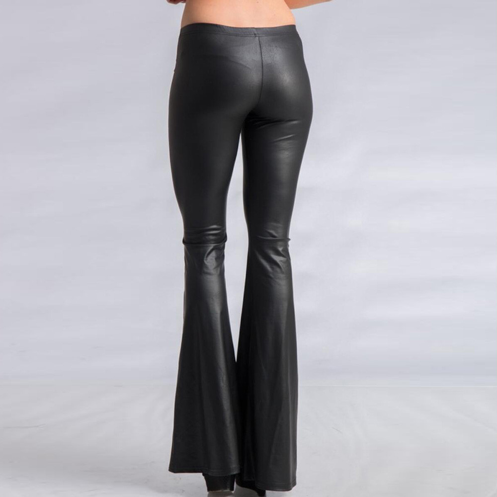 Women Leather Pants Nightclub Party Big Flare Long Pant Winter Spring Wild Sexy High Waist Wide Leg Trousers Elegant Female