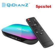 Caixa de tv em forma de amlogic s905x3, 5 pçs/lote hk1 smart android 9.0 caixa de tv 2.4g 5g wifi bluetooth hk1box 4k uhd conjunto superior caixa pk h96 max x3 a95x f3