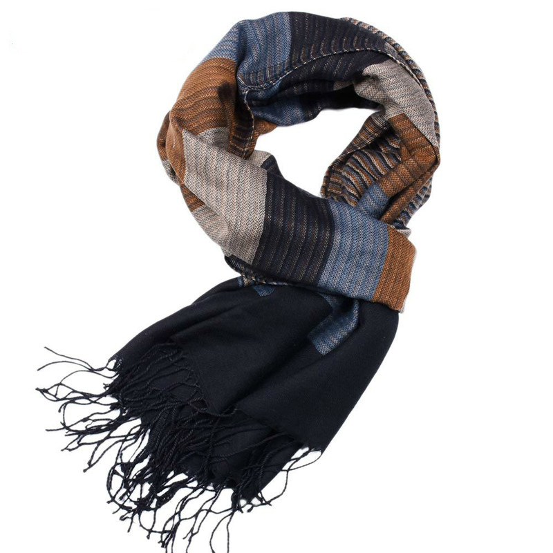 180*52cm High Quality Men Scarf Business Casual Artificial Wool Yarn-dyed Acrylic Striped Double-sided Tassel Scarf