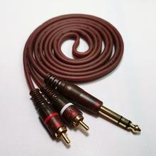 Profesjonalny sprzęt Audio kabel 6 35mm do 2 * kabel Audio RCA 1 4 cali wtyczka stereo męski podwójny kabel RCA HIFI stracić hałas OFC Audio tanie tanio YW-318 Audio Cable YUWEI 99 99 Oxygen-free Copper 3 9mm*2C 1 5M 3M 5M 10M Frosted Brown 6 35mm Stereo Plug Male 2*RCA male plug
