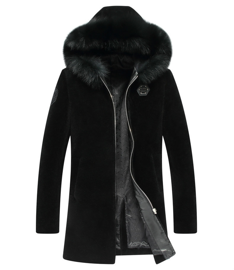 100% Wool Coat Winter Jacket Men Real Shee Shearling Fur Coats Male Fox Fur Collar Lamb Fur Warm Jackets Chaqueta Hombre MY1668