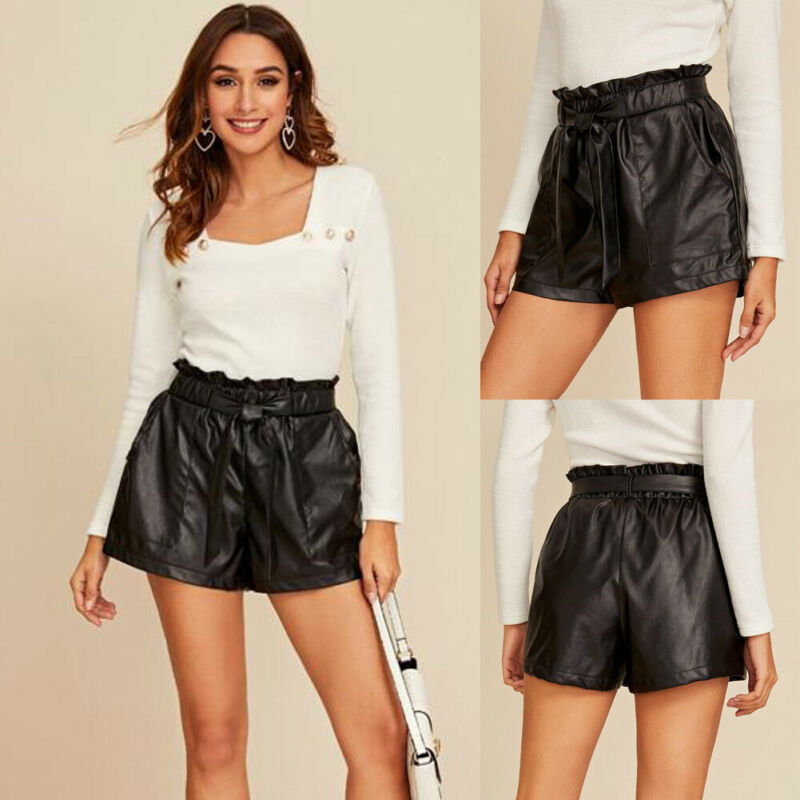 2020 New Arrival Fashion Ladies Women PU Faux Leather Paper Bag Shorts Black Belted High Waisted Wet Pocket Lace-Up Shorts