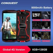 "Conquista 8000mAh S12 Pro IP68 impermeable resistente teléfono inteligente teléfono móvil 6,0 ""Android 9,0 helio P70 Octa Core Rugged Smartphone"