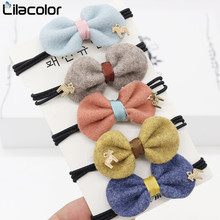 купить 5PCS/lot Pretty Bow Tie Elastic Hair Bands Flower Ball Handmade Hair Tie Scrunchy Kids Creative Hair Accessories For Women Girls онлайн