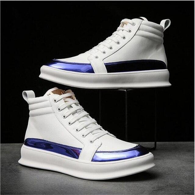 Zapatillas de deporte de lujo para hombre, zapatos altos informales de microfibra, botas de cuero, a la moda, primavera y otoño, novedad de 2020 6