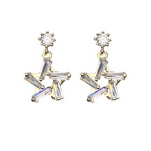 Simple And Fashionable Short Style Star Earring Pendant Five-Pointed Star Earring Female Temperament Sterling  Earrings цена 2017