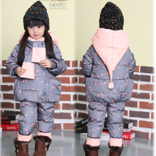 Cute Baby Girls 90% White Duck Down Jacket and Pants Suit Winter Russia Children Clothes 2 3 4 Boys Hooded Snowsuit Outerwear