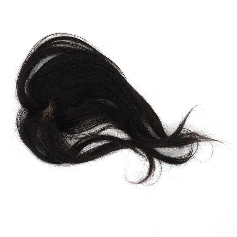 Sistema de Cabelo Hairpiece com Clipes Toupee Feminino Natureza Preto Humano Peruca Feminina Tp01 1b