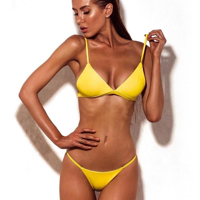 Sexy High Cut Bikini Set Women Solid Swimwear Micro Thong Swimsuit Bathing Suit Brazilian Bikinis Summer Beachwear Biquini 3