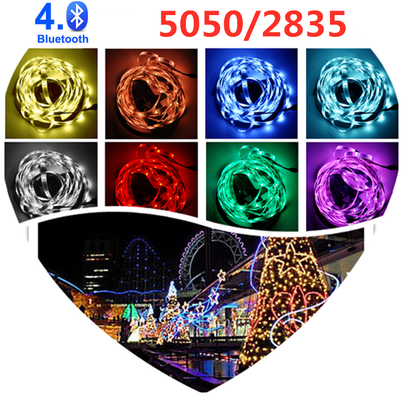 Tira de luces LED de 10M, luces Led Bluetooth, cinta de lámpara Flexible impermeable RGB 5050 2835 con cinta de diodo DC 12V