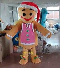 Gran promoción, disfraz de hombre de jengibre de Mascot, disfraz de personaje, vestido de fantasía, dibujo animado de Navidad, mascota de tamaño adulto
